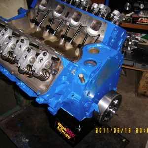 Ford 351 Cleveland Engine Stroked to 393. 4V Heads, Hydraulic Roller Cam, 600hp.