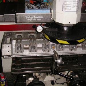 Aston Martin 6 Cylinder Head being Surfaced on our Rottler Head & Block Surfacing Machine.