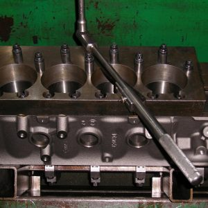 Dart SHP 400ci Block with Torque Plates Installed Ready for Torque Plate Honing.