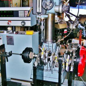Nissan VG30 V6 Crankshaft Assembly being Balanced on our Hines Computerised Dynamic Balancing Machine.