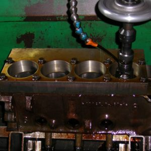 Torque Plate Bore and Honing a 360 Chrysler Engine Block.