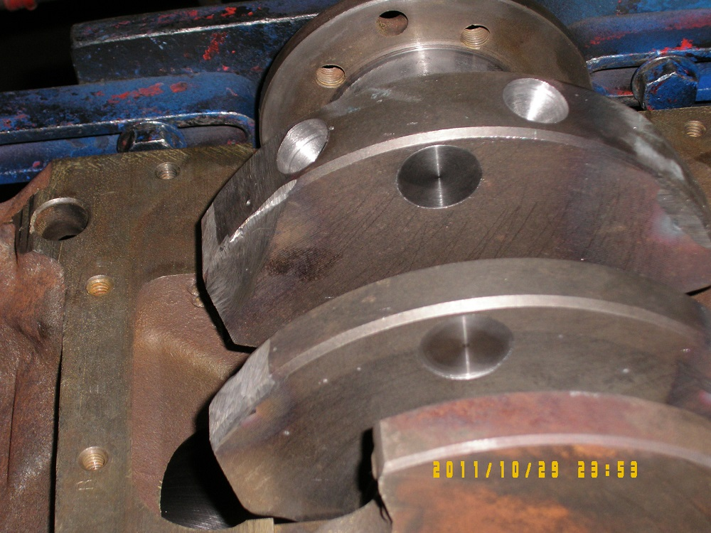 Adding Heavy Metal To a Crankshaft For Balancing. Engine Machining.