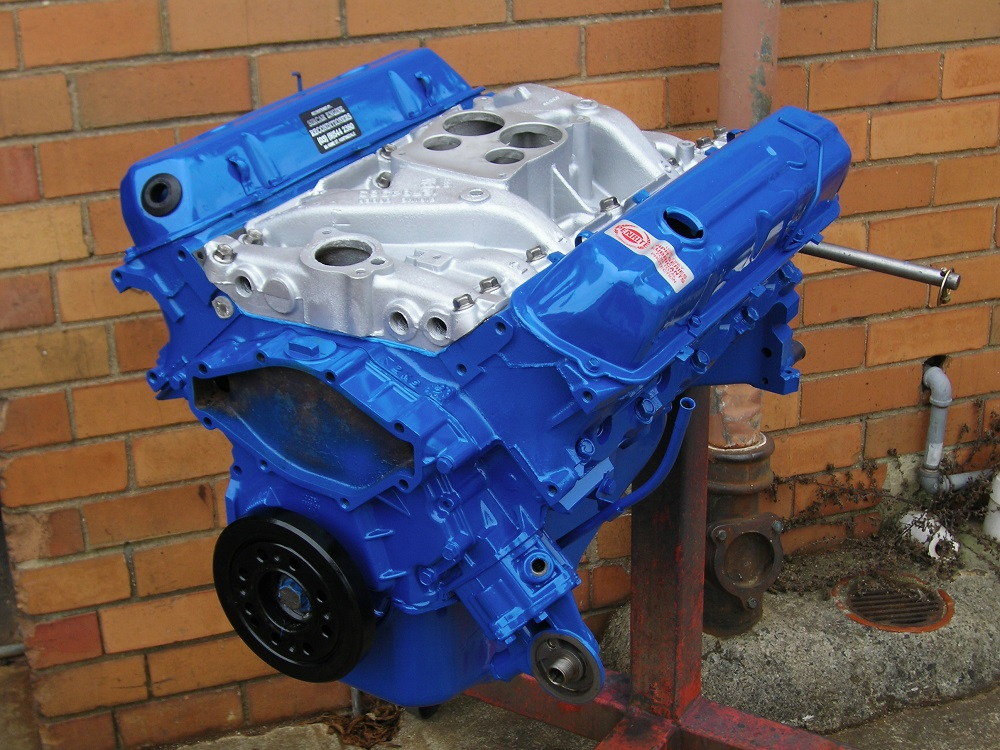 Finished Holden 308 Blue Motor with Fully Sleeved Block Back to Standard Bore.