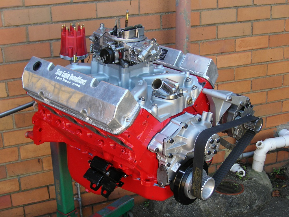 Holden 308 Stage 2 Engine with VN Heads, Crane 286 Cam, etc. Shown with Accessories Fitted.