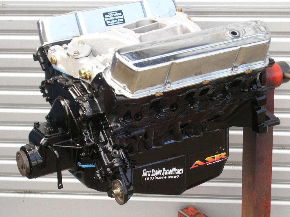 308ci Holden Boat Engine with Dog Clutch, ASR Oil Pan, Balanced, Mild Cam, Performance Valve Springs, etc.
