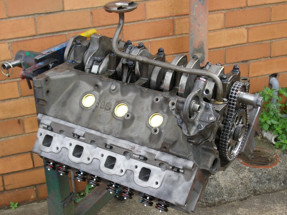 Bottom View of Holden 355 Stroker Engine being Built.