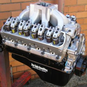 Ford 347 Stroker Engine. Custom Mechanical Camshaft, Airflow Research Heads, Mexican Block, Roller Rockers, Scat Forged Rotating Assembly, etc. Shown with Temporary Sump.