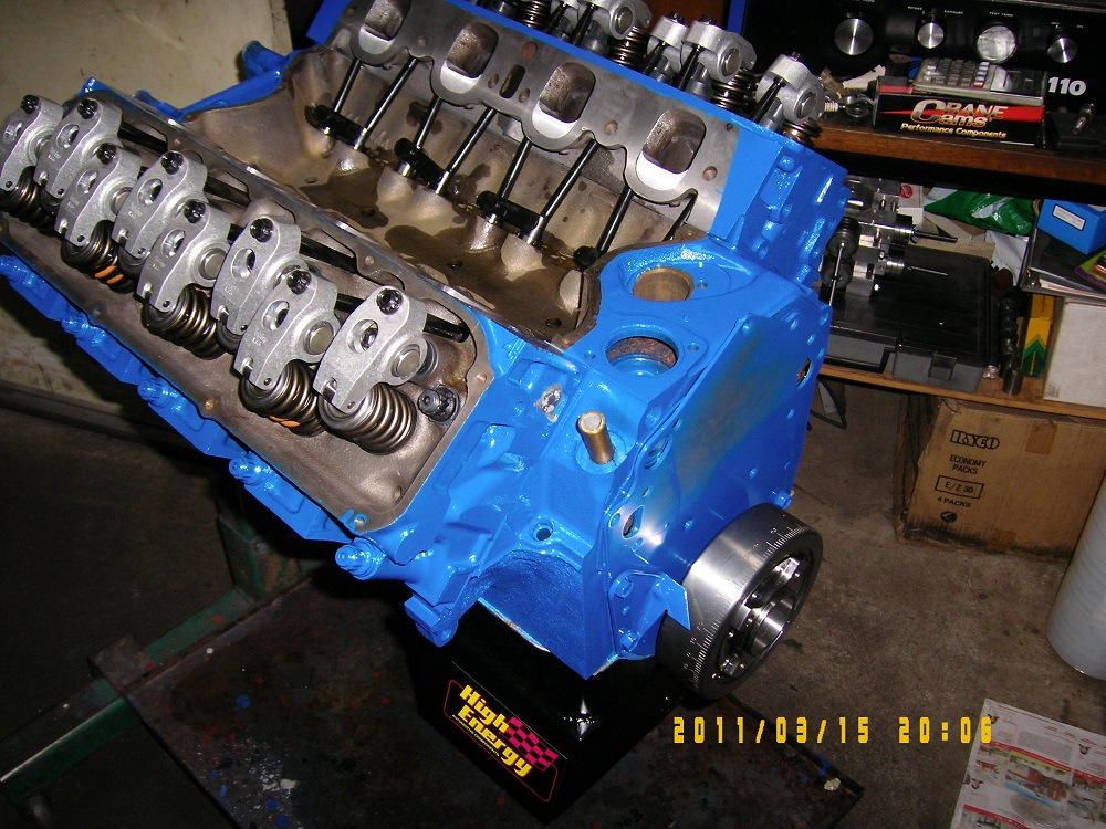Ford 351 Cleveland Stroked to 393. 4V Heads, Hydraulic Roller Cam, 600hp.