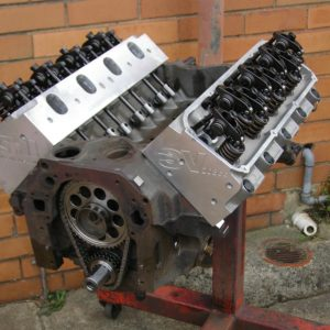 Ford Cleveland Engine Stroked to 393ci. 600 hp Package including Roller Cam, CHI Alloy Heads, Balanced, etc. Ready for Customer to Complete Assembly and Paint.