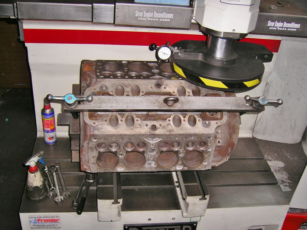 Ford Flathead V8 Block having it's Head Gasket Face Machined.