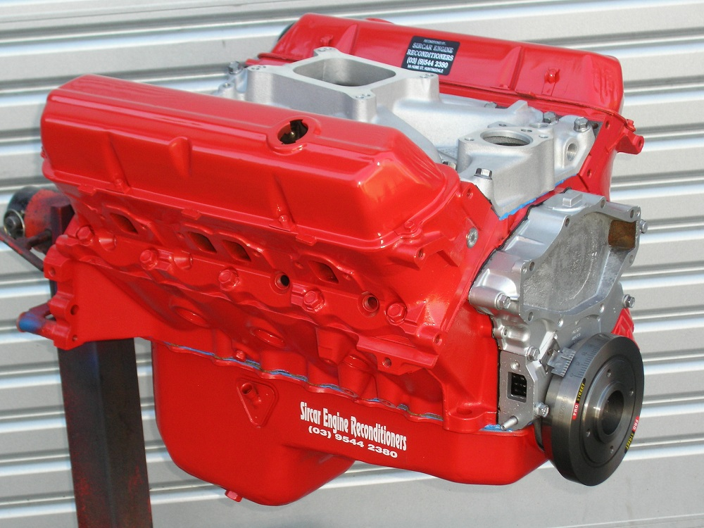 Holden 308 Red Motor which has a Trimatic Bolt Pattern Block, Crane 286 Camshaft, etc.