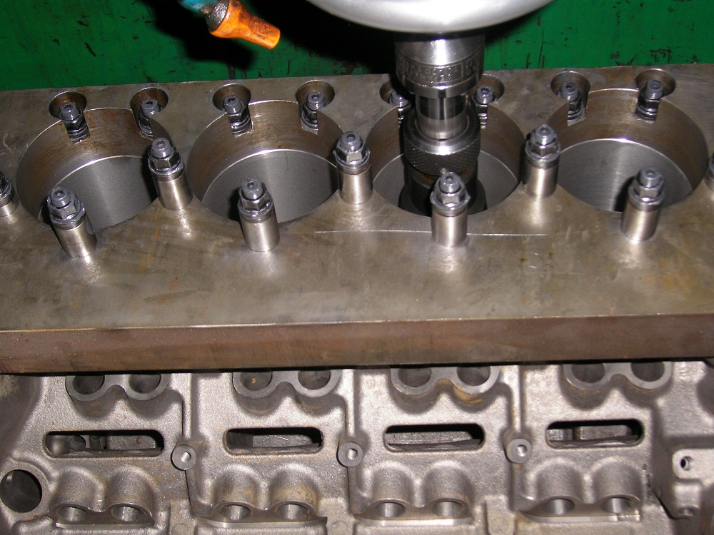 Chev 350 Dart SHP Block with Torque Plates Fitted Ready for Honing. Note ARP Studs.