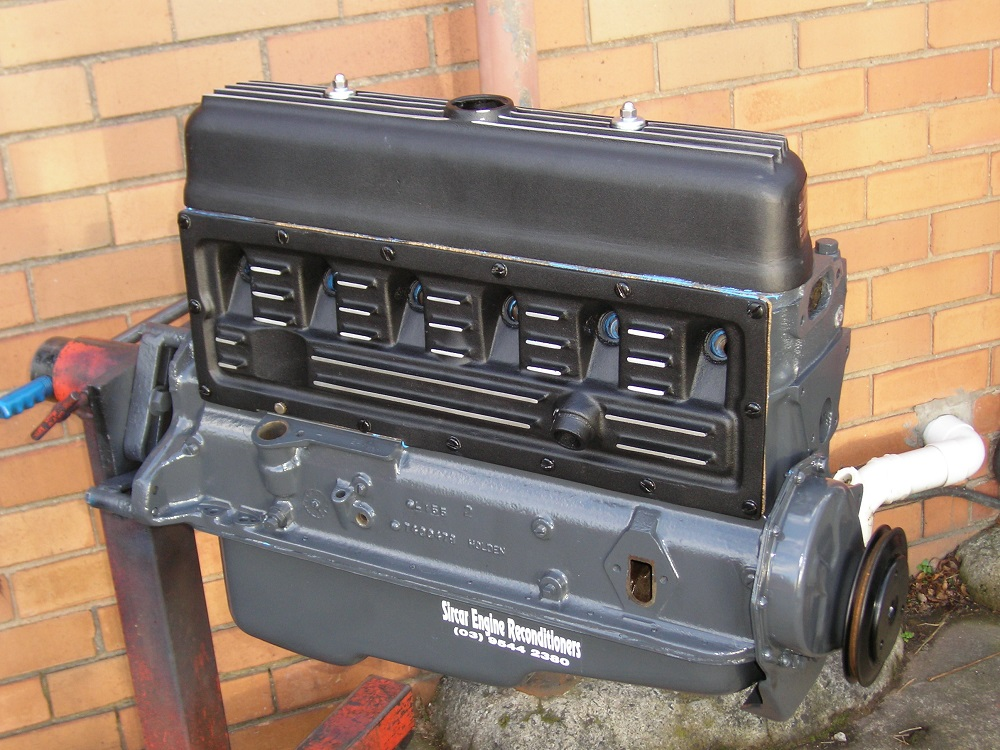 Holden 138 Grey Stage 2 Sports Engine with Aussie Speed Finned Alloy Rocker Cover And Side Cover.